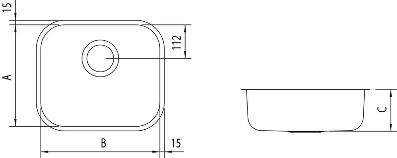 Cuba Retangular BL Prime Aço Inox Tramontina 470x305x170mm Alto Brilho + Furo P/Válvula 3 1/2´ 94022/206