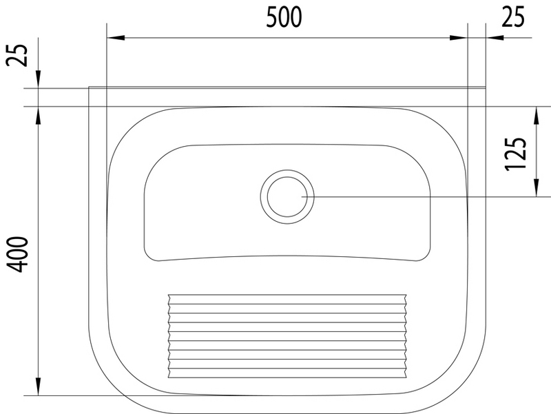 Tanque de Parede 27L Aço Inox Acetinado (Compr. X Larg. X Alt.): 500x 400x 230 mm 94401/107 Tramontina