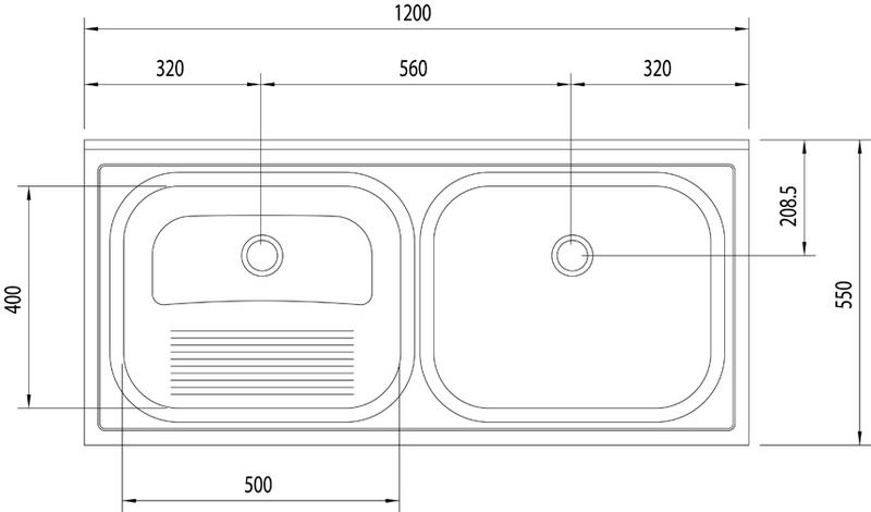Tanque Duplo de Apoio Acetinado 2C 27+30L (Compr. X Larg. X Alt.): 1.200x 550x 276 mm 94406/117 Tramontina