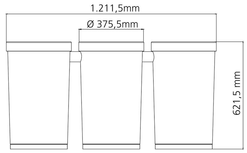 Conjunto de 3 Lixeiras Cônicas Aço Inox 50 Litros Tramontina 94539/003