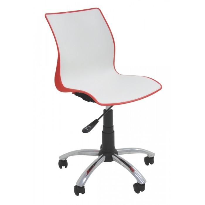 Cadeira com Rodízios MAJA Branco/Vermelho Tramontina 92073/140