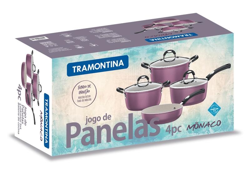 Jogo de Panelas Starflon 4 Peças Roxo Mônaco Tramontina 20799/980