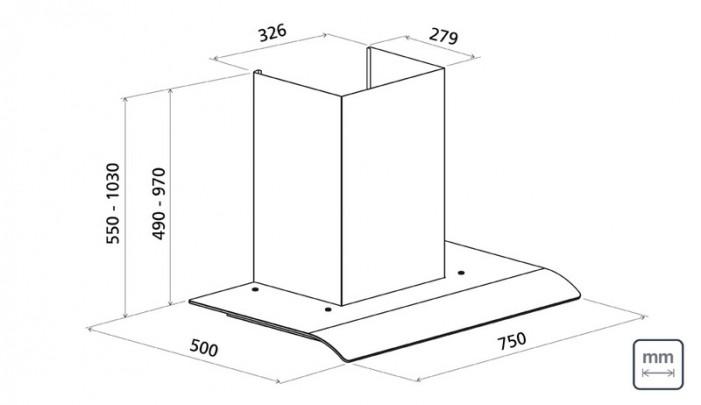 Coifa De Parede De 75 cm Em Aço Inox + Vidro 220 V 95800/010 Tramontina