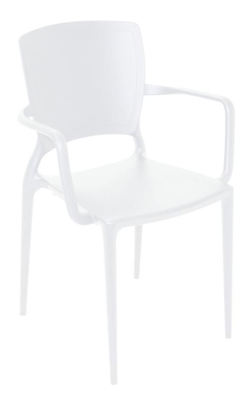Cadeira Sofia Encosto Fechado Com Braço Branco 92039/010 Tramontina