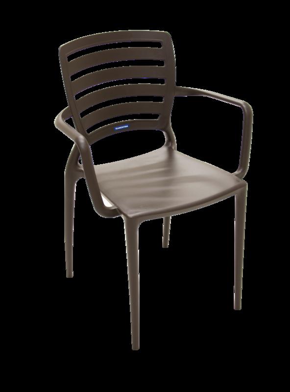 Cadeira Sofia Encosto Vazado Com Braço Marrom 92036/109 Tramontina