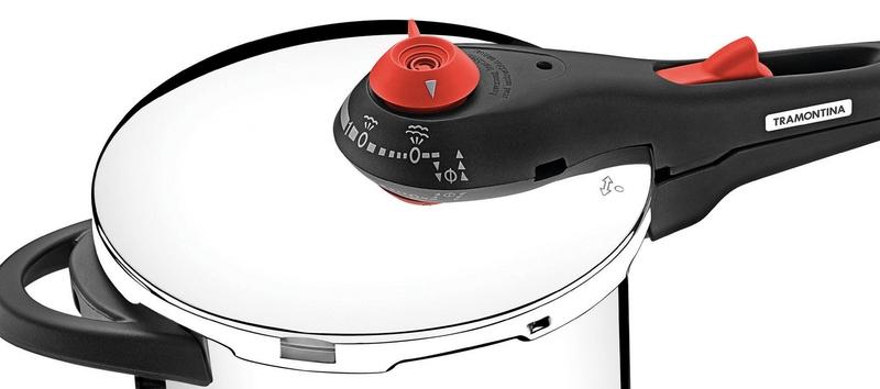 Panela de Pressão sem Cozi-Vapore Ø 22 cm Aço Inox SOLAR 6 Litros Tramontina 62516/223