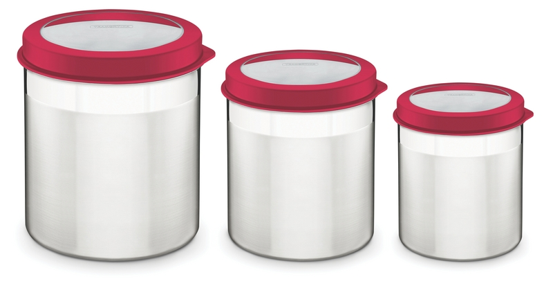 Jogo de Potes Inox com Tampa Plástica Vermelha 3 Peças Tramontina 64220/622