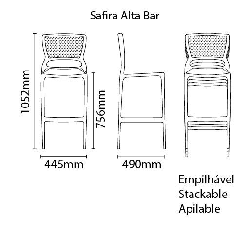 Banqueta Safira Alta Bar Grafite Tramontina 92138/007