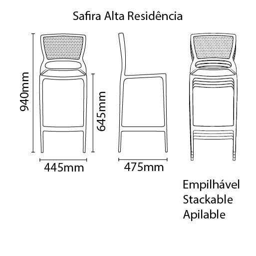 Banqueta Safira Alta Grafite Tramontina 92128/007