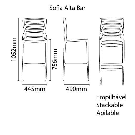 Banqueta Sofia Alta Bar Cinza Tramontina 92137/210