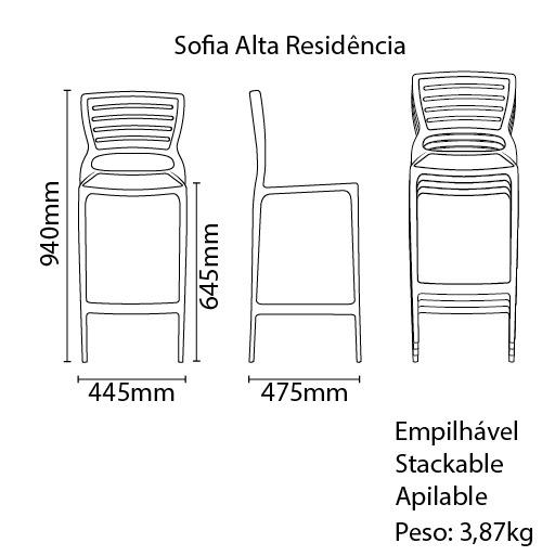 Banqueta Sofia Alta Cinza Tramontina 92127/210