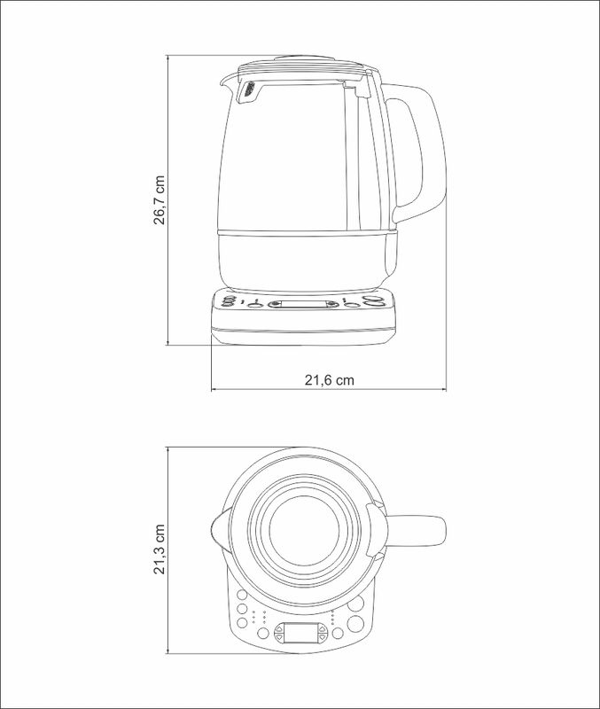 Bule Elétrico para Chá com Jarra de Vidro 1,5L 220v Tramontina 69110/012