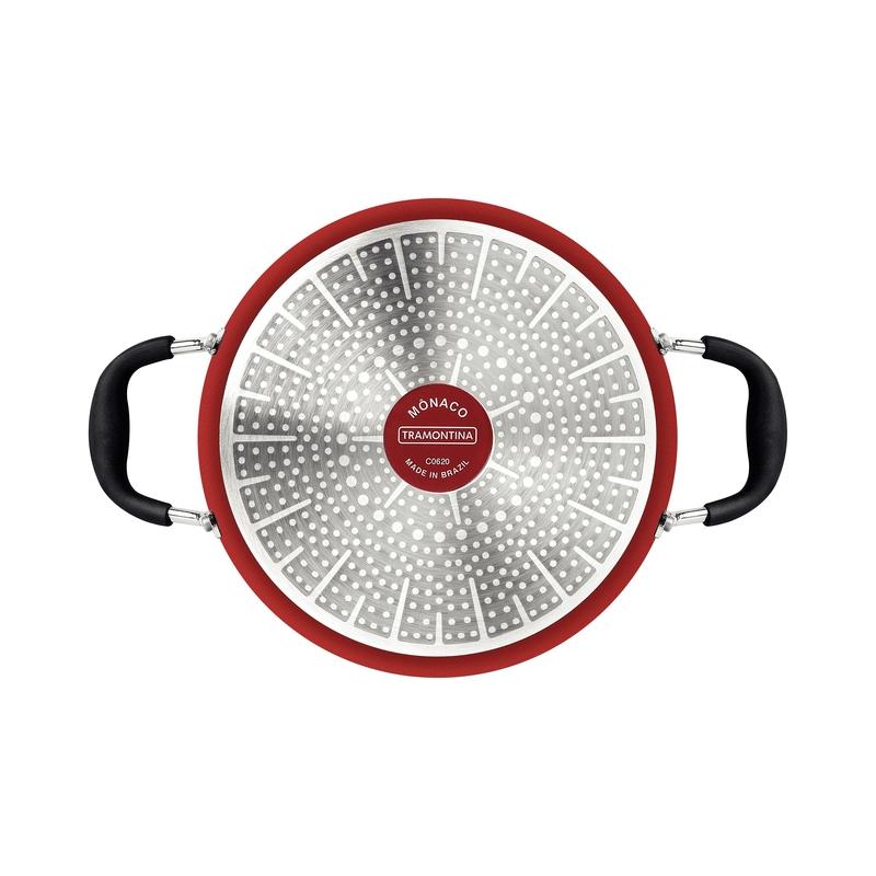 Caçarola Mônaco Induction Vermelha 28 cm 6,4 L em Alumínio com Revestimento Interno Antiaderente e Alças em Silicone Tramontina 28705/728