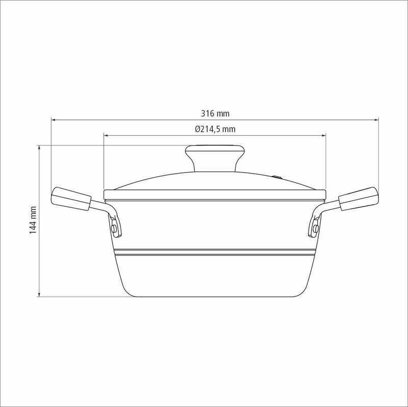 Caçarola Sicília Avelã 20 cm 2,4 L em Alumínio com Revestimento Interno Antiaderente Starflon Excellent Tramontina 20402/620