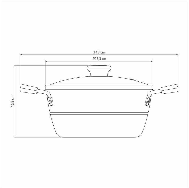 Caçarola Sicília Avelã 24 cm 4,3 L em Alumínio com Revestimento Interno Antiaderente Starflon Excellent Tramontina 20402/624