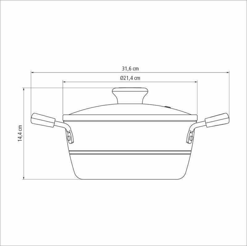 Caçarola Sicília Vermelha 20 cm 2,4 L em Alumínio com Revestimento Interno Antiaderente Starflon Excellent Tramontina 20402/720