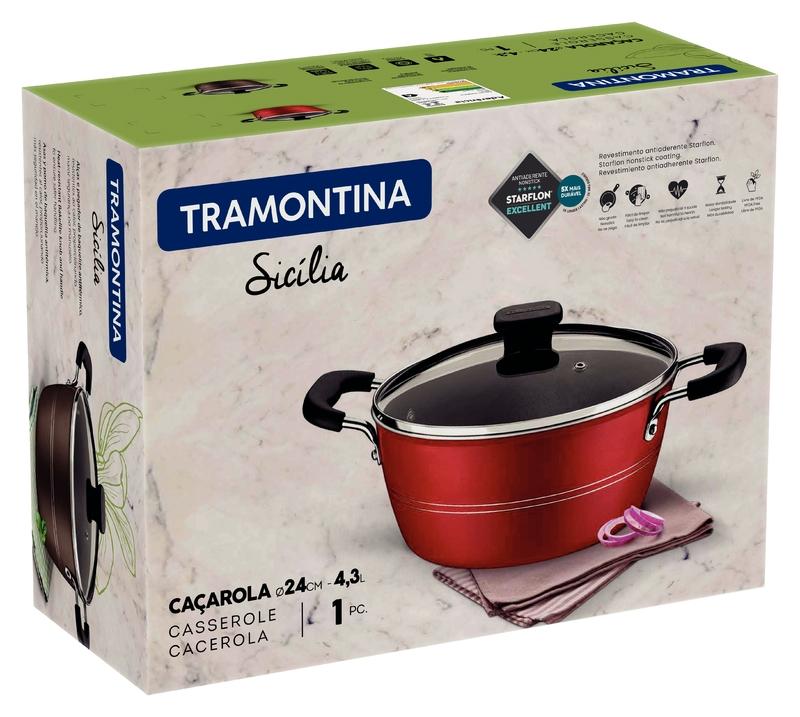 Caçarola Sicília Vermelha 24 cm 4,3 L em Alumínio com Revestimento Interno Antiaderente Starflon Excellent Tramontina 20402/724