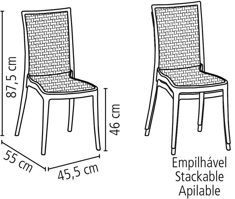 Cadeira Laura Ratan Preto Tramontina 92032/009