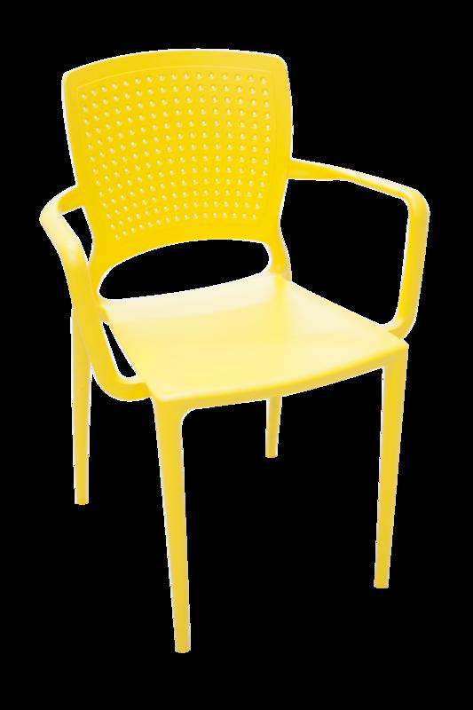 Cadeira Safira com Braços Encosto Fechado Amarelo 92049/000 Tramontina