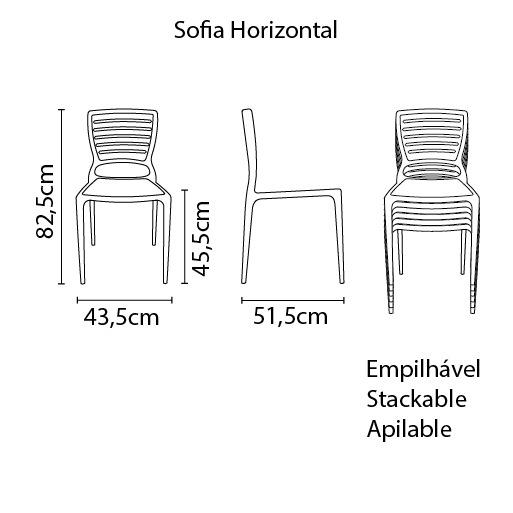 Cadeira Sofia Grafite Tramontina Encosto Vazado Horizontal 92237/007