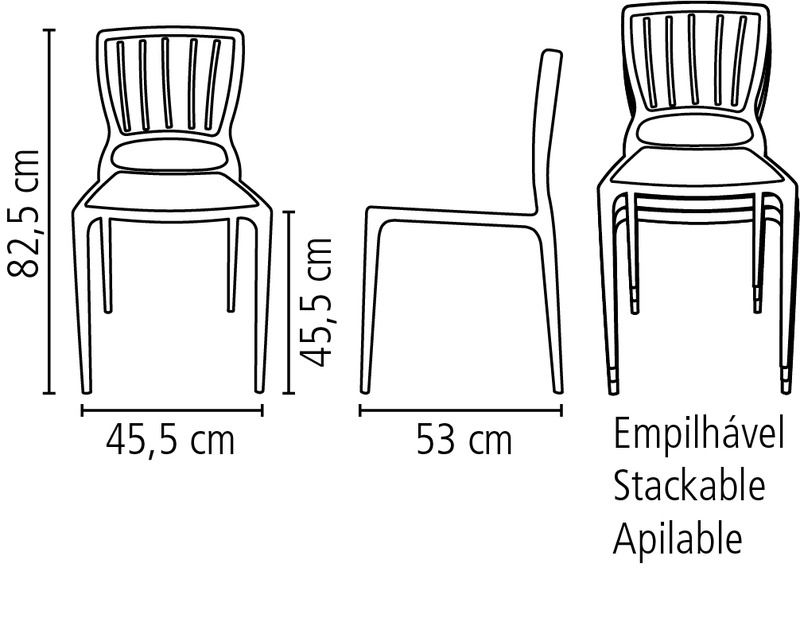 Cadeira Sofia Mariner Tramontina Encosto Vazado Vertical 92035/030