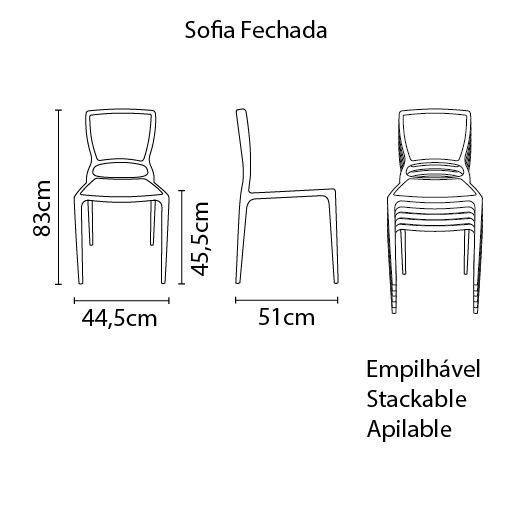 Cadeira Sofia Vermelha Tramontina Encosto Fechado 92236/040
