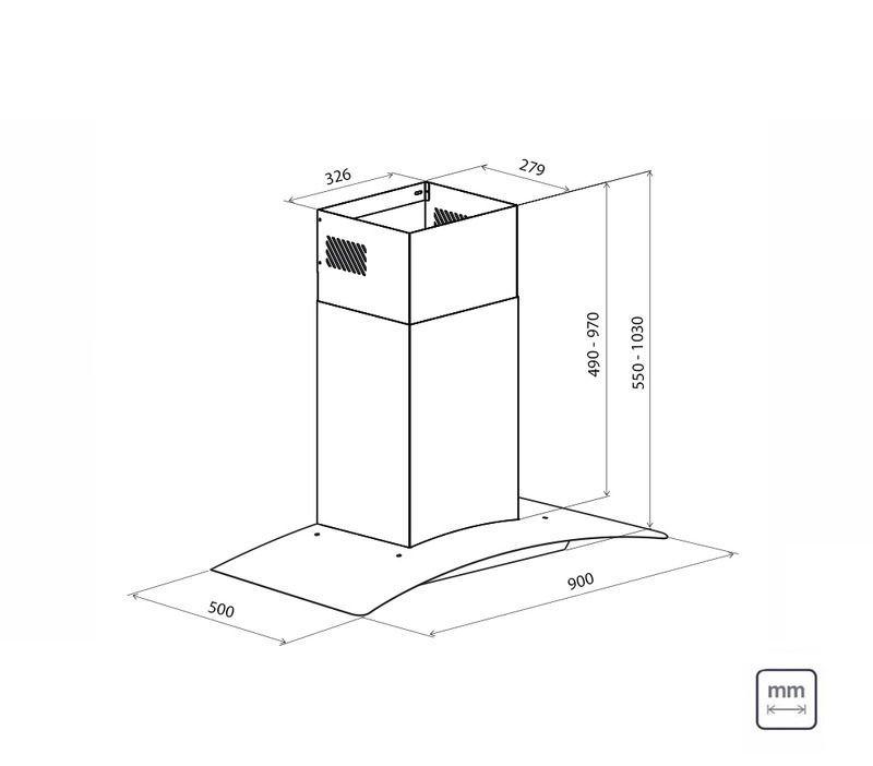 Coifa de Parede 90 cm Aço Inox + Vidro New Vetro 127 V Tramontina 95800/007