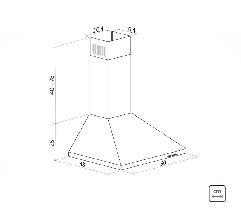 Coifa de Parede 60 cm Aço Inox Pirâmide 220 V Tramontina 94813/002