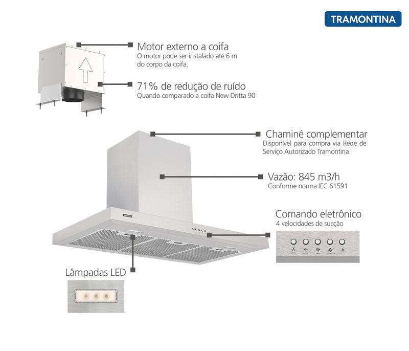 Coifa de Parede 90 cm Aço Inox Drita Split 220 V Tramontina 95800/023