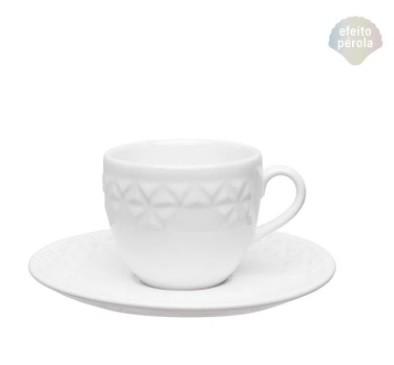 Conjunto de Xícara de Chá com Pires 06 Peças Mia Pérola Oxford