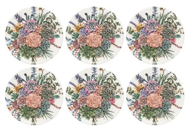 Conjunto de Pratos Rasos 06 Peças Bothanica Oxford