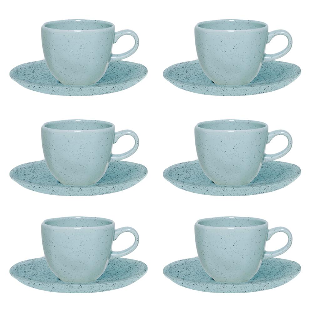 Conjunto de Xícara de Chá com Pires 06 Peças Blue Bay Oxford
