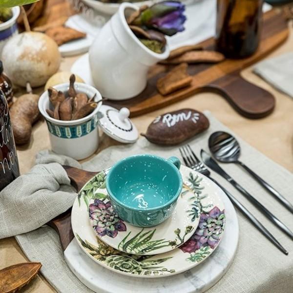 Conjunto de Xícara de Chá com Pires 06 Peças Bothanica Oxford