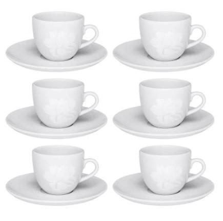 Conjunto de Xícara de Chá com Pires 06 Peças Coup Blanc Oxford