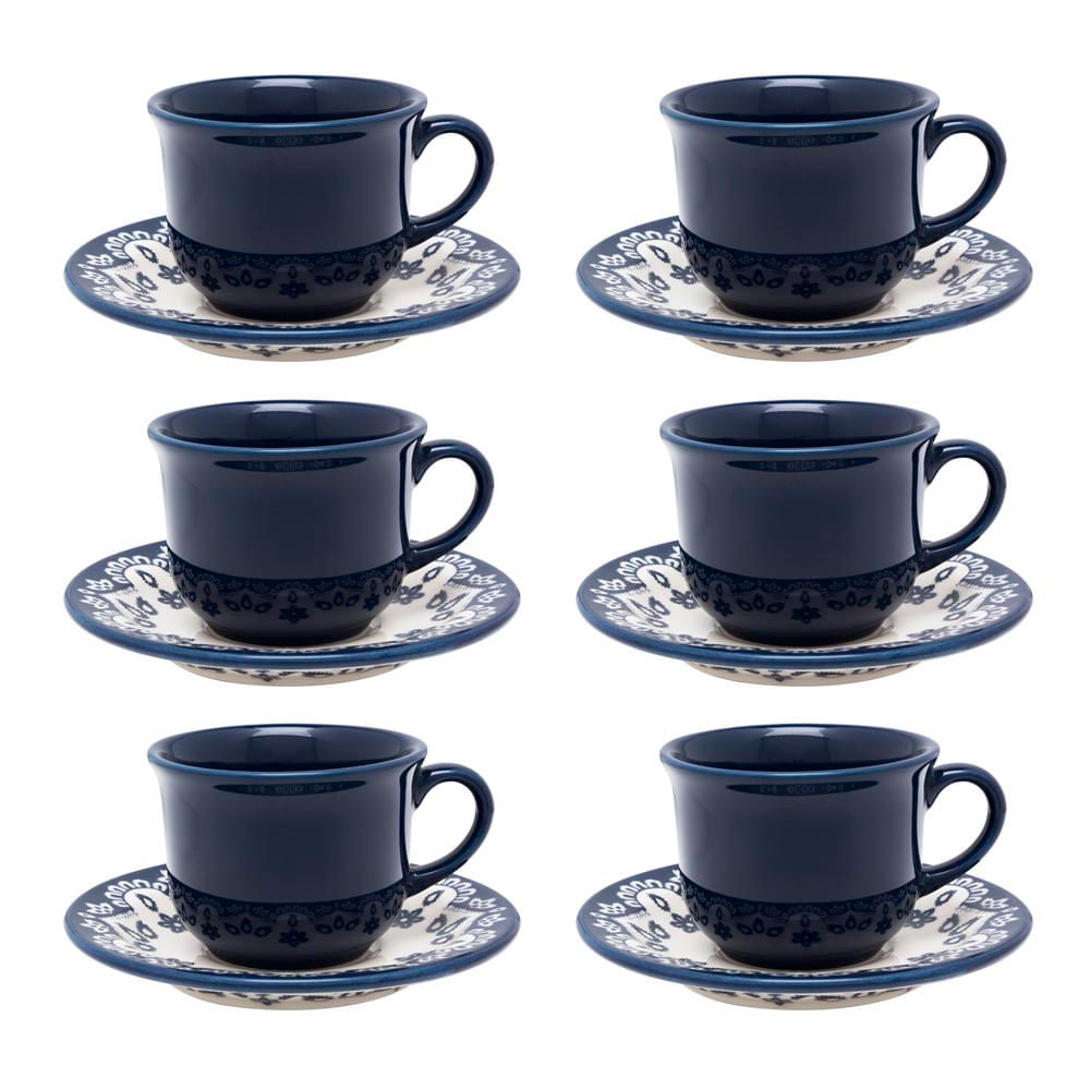 Conjunto de Xícara de Chá com Pires 06 Peças Energy Oxford