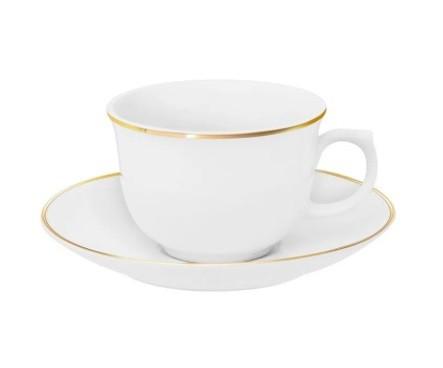 Conjunto de Xícara de Chá com Pires 06 Peças Flamingo Sofia Oxford
