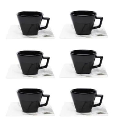 Conjunto de Xícara de Chá com Pires 06 Peças Golden Stone Oxford