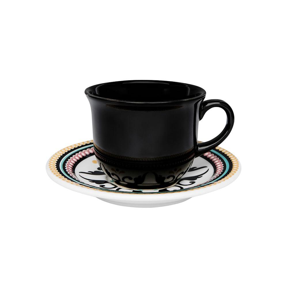 Conjunto de Xícara de Chá com Pires 06 Peças Luiza Oxford