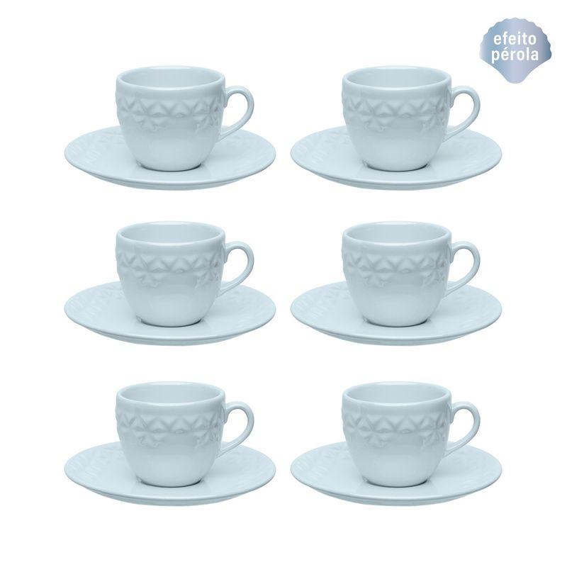 Conjunto de Xícara de Chá com Pires 06 Peças Mia Cristal Oxford