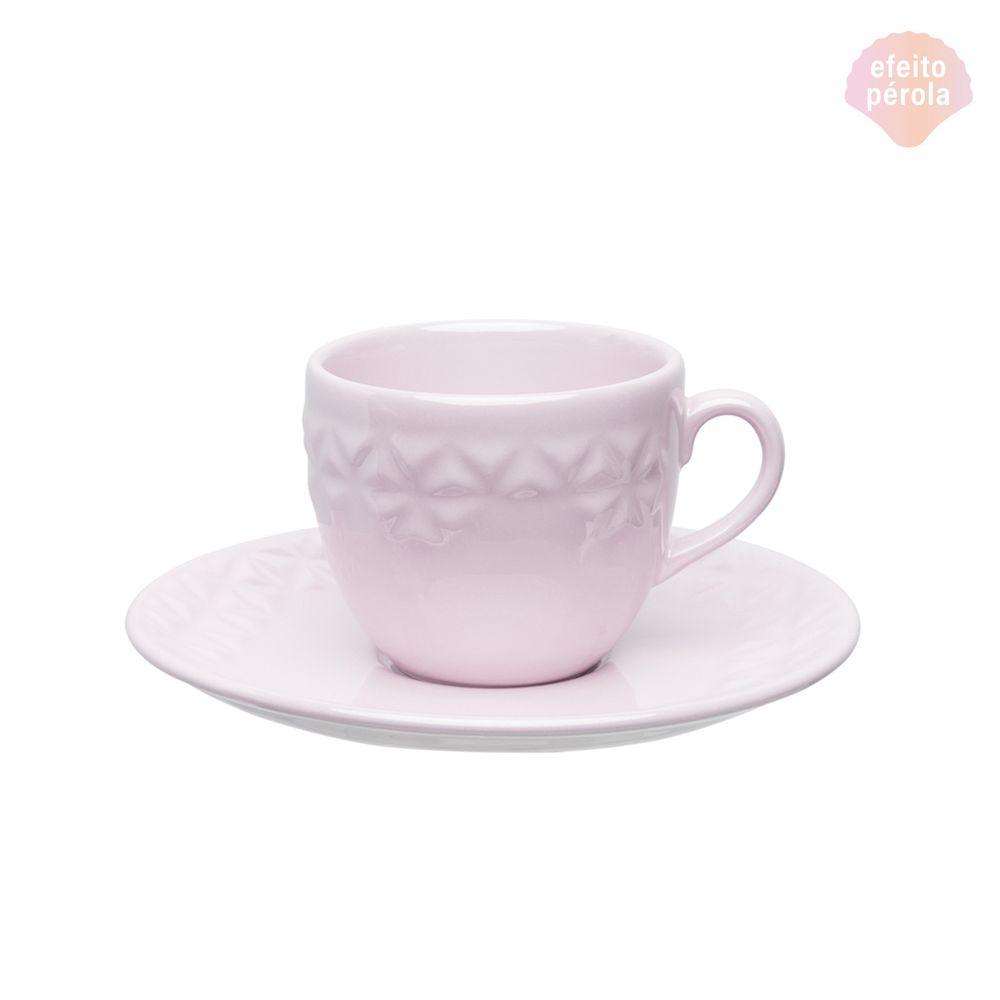 Conjunto de Xícara de Chá com Pires 06 Peças Mia Quartzo Oxford