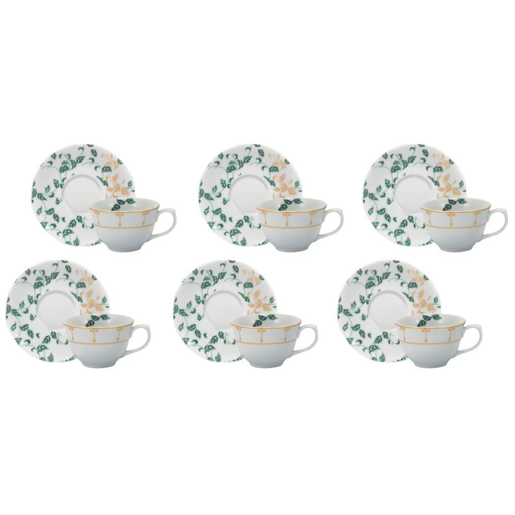 Conjunto de Xícara de Chá com Pires 06 Peças Outono Schmidt