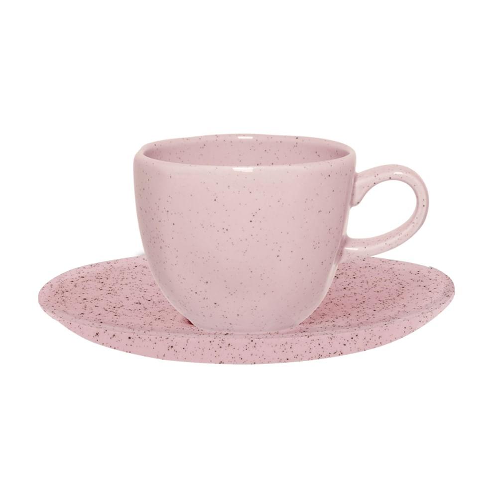 Conjunto de Xícara de Chá com Pires 06 Peças Pink Sand Oxford
