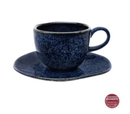 Conjunto de Xícara de Chá com Pires 06 Peças Ryo Safira Oxford