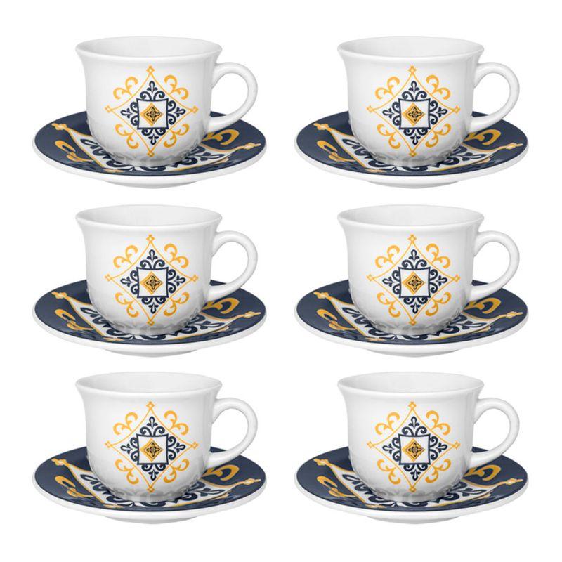 Conjunto de Xícara de Chá com Pires 06 Peças São Luís Oxford