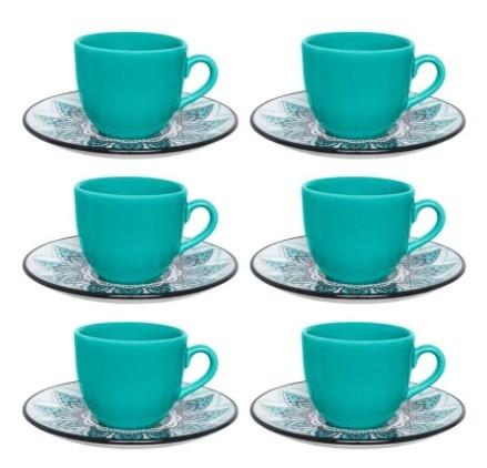 Conjunto de Xícara de Chá com Pires 06 Peças Serene Oxford
