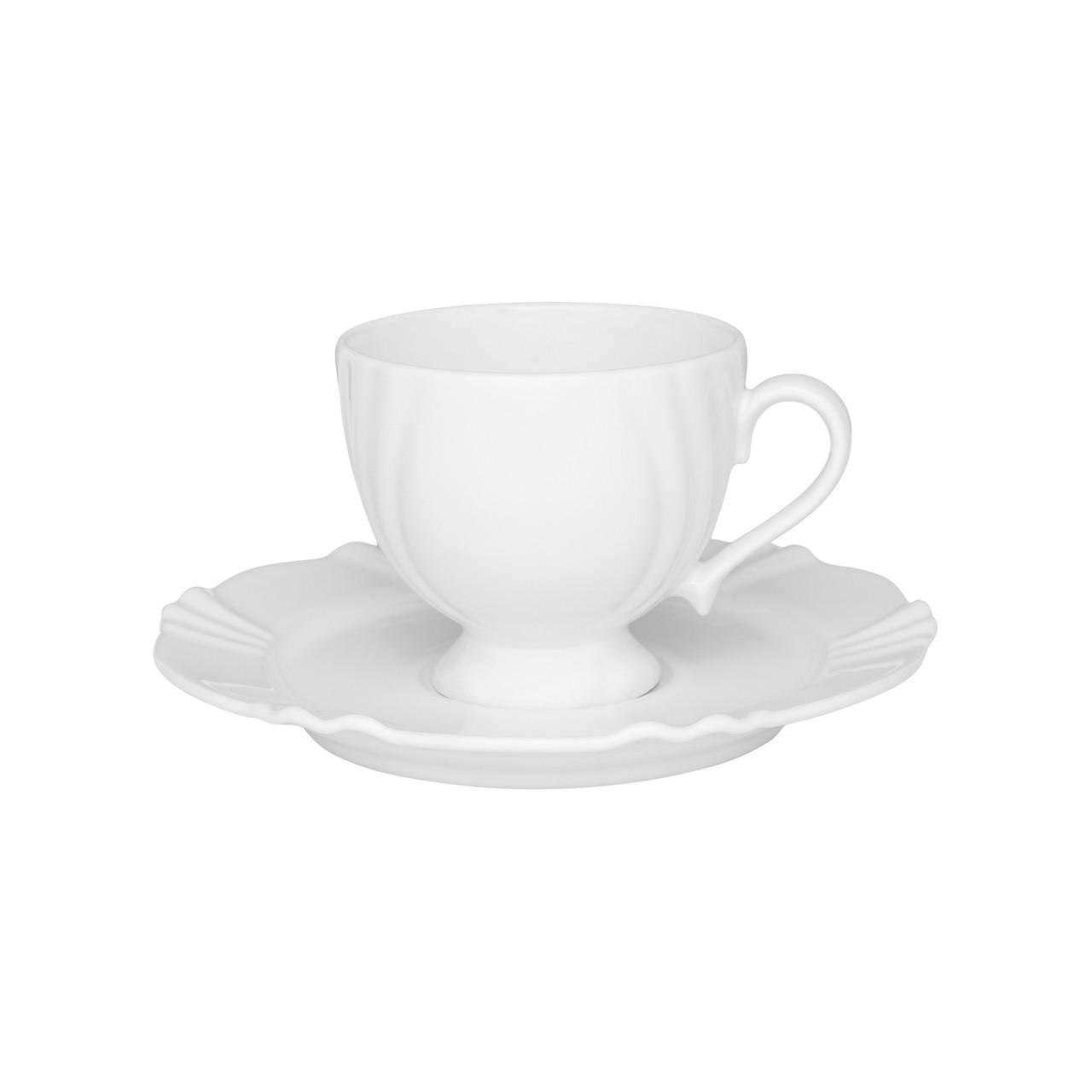 Conjunto de Xícara de Chá com Pires 06 Peças Soleil White Oxford