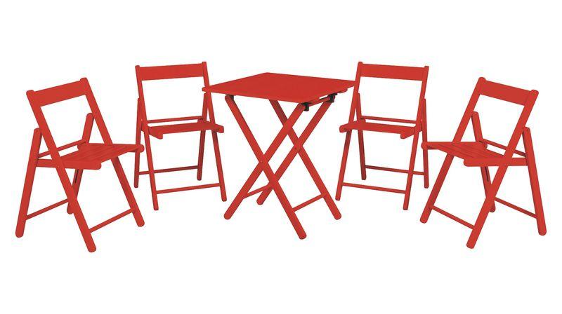 Conjunto Potenza Mesa e Cadeira 5 Peças Vermelho Aconchego Tramontina 10630038