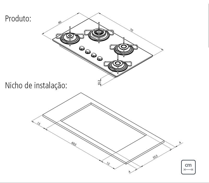 Cooktop 4 Queimadores a Gás Vidro Temperado Brasil Trapézio Tramontina 94753/501