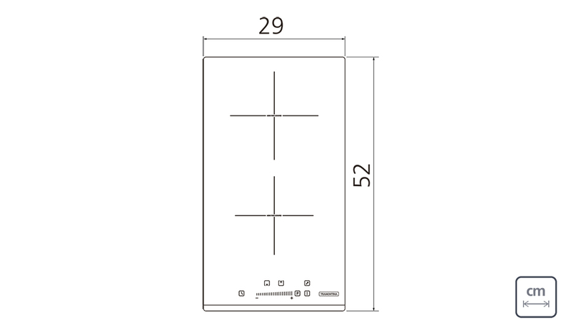 Cooktop 2 Áreas por Indução Dominó Slider Vitrocerâmico Touch Tramontina 94750/221
