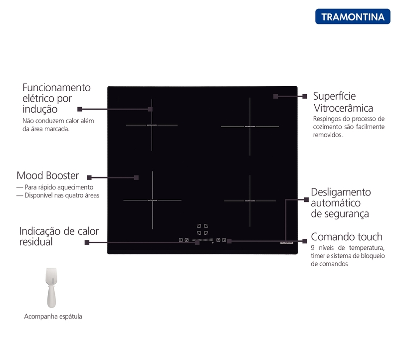 Cooktop 4 Áreas Elétrico por Indução Vitrocerâmico Square Slider B 4EI 60 Touch Tramontina 94751/221